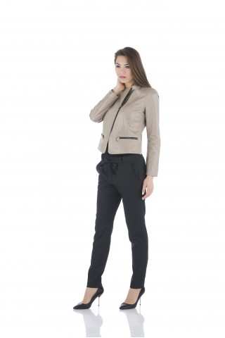 Classical genuine leather jacket in light beige