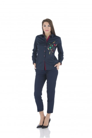 Navy  cotton shirt with colored embrodery