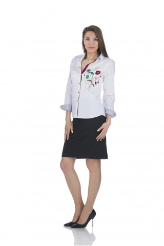 White, cotton shirt with colored embrodery
