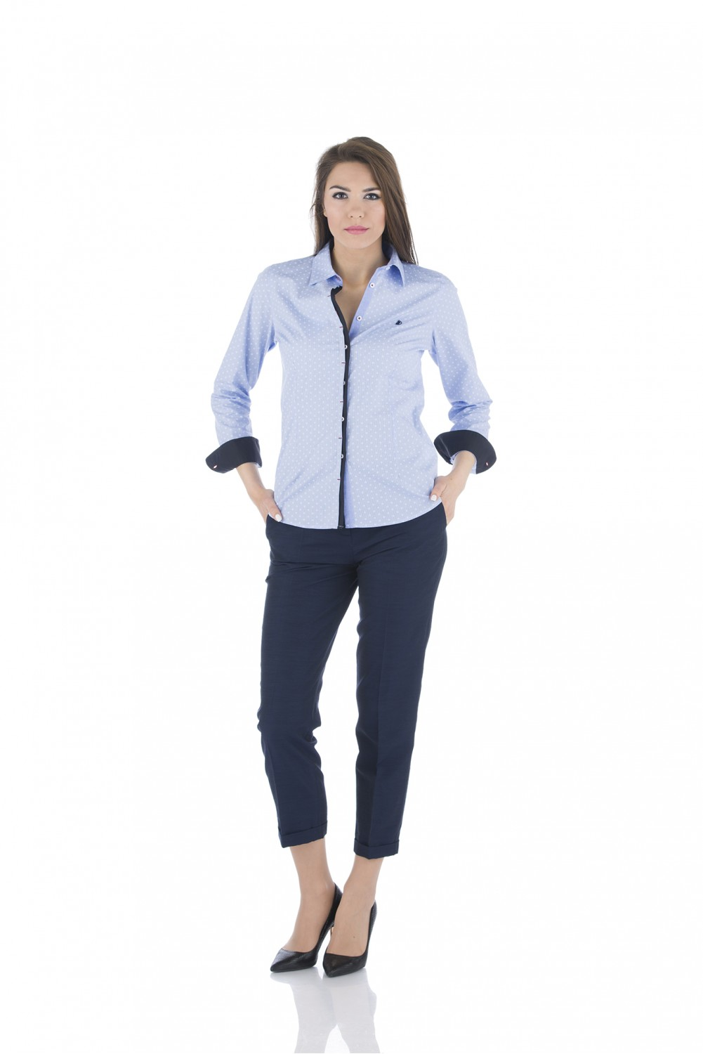 Light blue shirt with navy details