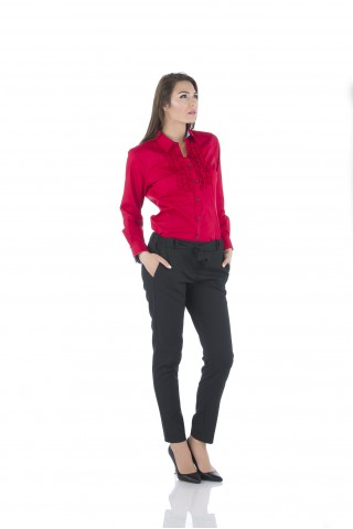 Red, cotton shirt with ruffles