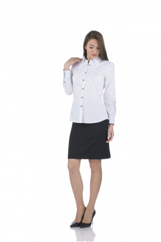 White, cotton shirt with ruffles