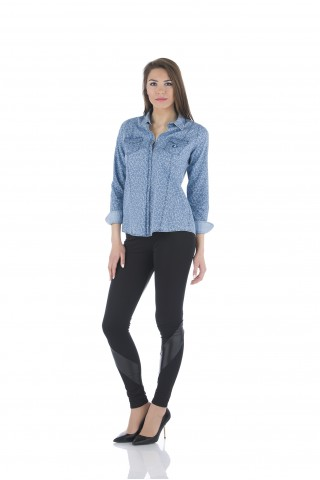 Light denim shirt with print