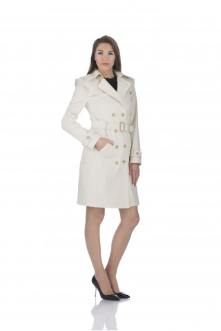 Water repellent trench coat in ecru