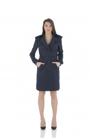 Water repellent trench coat in dark blue
