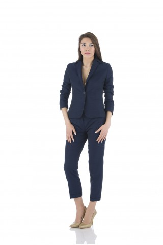 Linen classical blazer in navy