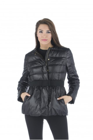 "Light down jacket type ""balloon"" with bow on the waist in dark blue"