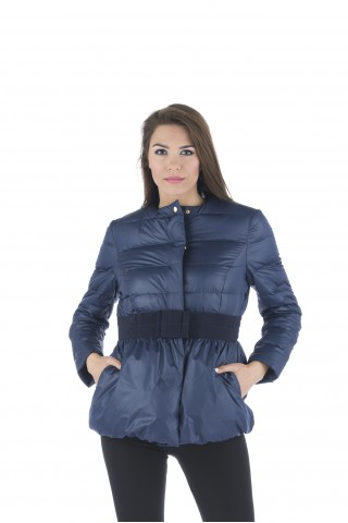 "Light down jacket type ""balloon"" with bow on the waist in blue"
