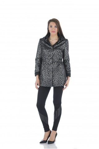 Black jaquard parka on silver polka dots