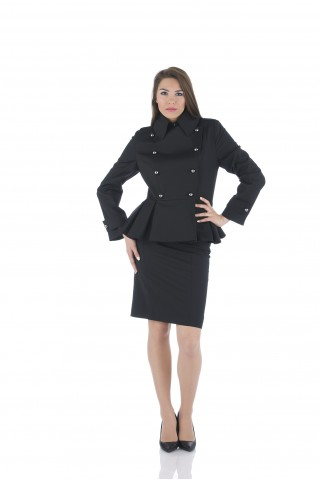 Black double breasted jacket from fine wool fabric