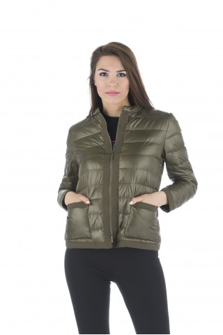 Light down jacket filled with goose down in green