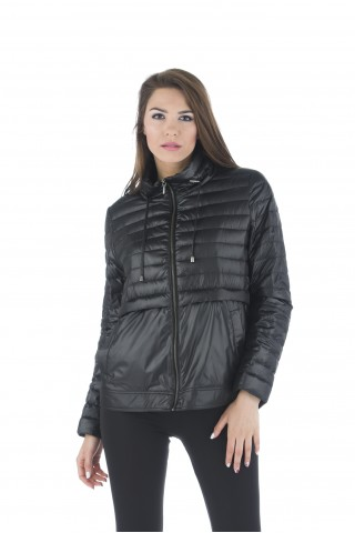 Light down jacket filled with goose down in black