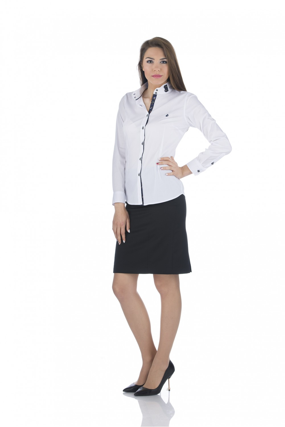 White shirt with navy details