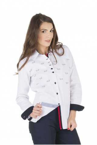 White cotton shirt with print