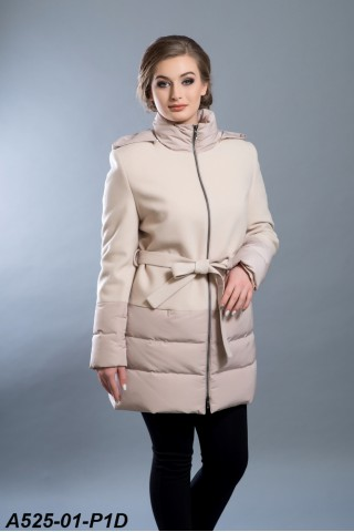 Wool coat with goose down filling and hood