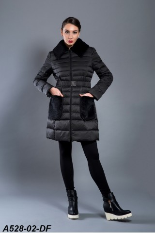 Jacket with rabbit fur pockets and collar