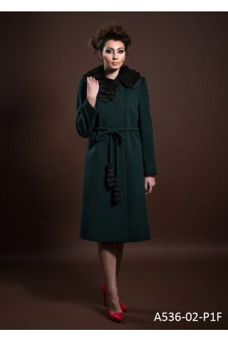 Belted wool coat with big rabbit collar