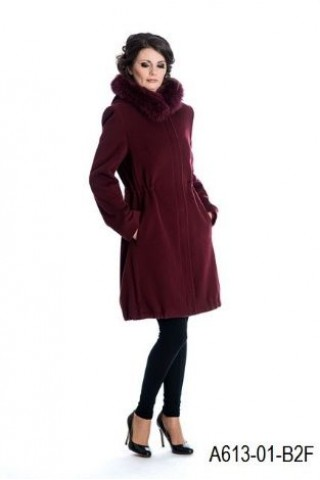 Wool coat with fox trimmed hood