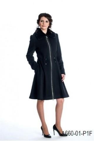 Wool coat with rabbit collar