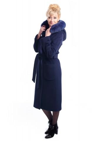 Dark blue coatwith hood and fox fur