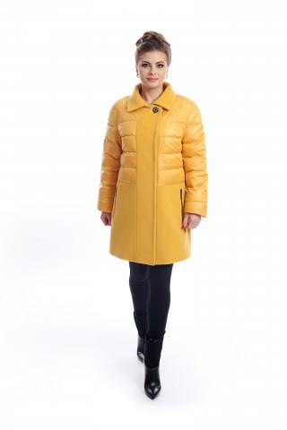 Short, yellow, combo coat