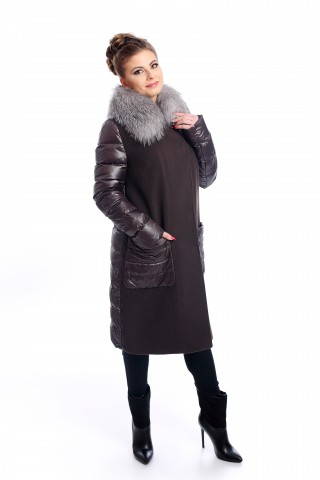 Brown combo coat with silver fox collar