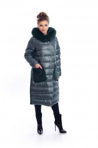 Dark green combo coat with fox fur on the hood