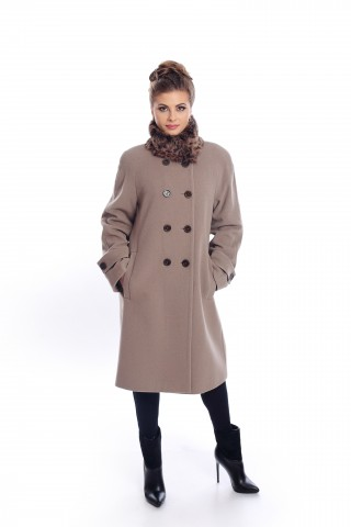 Beige coat with fox fur on the hood