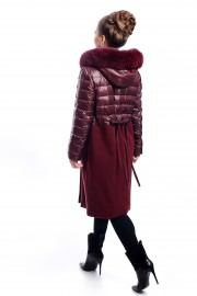 Long, red combo coat with fox fur on the hood