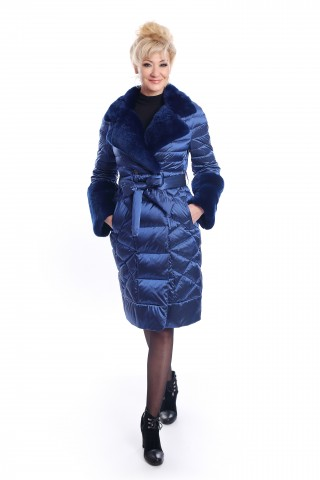 Blue, down jacket with collar and cuffs from rabbit fur