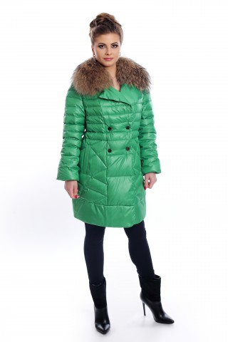 Short, green, down jacket with for collar