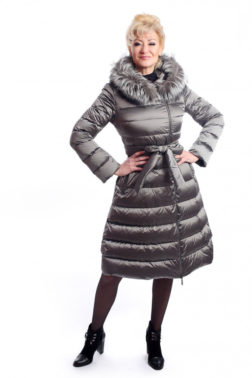 Gray down jacket with fox fur on the hood