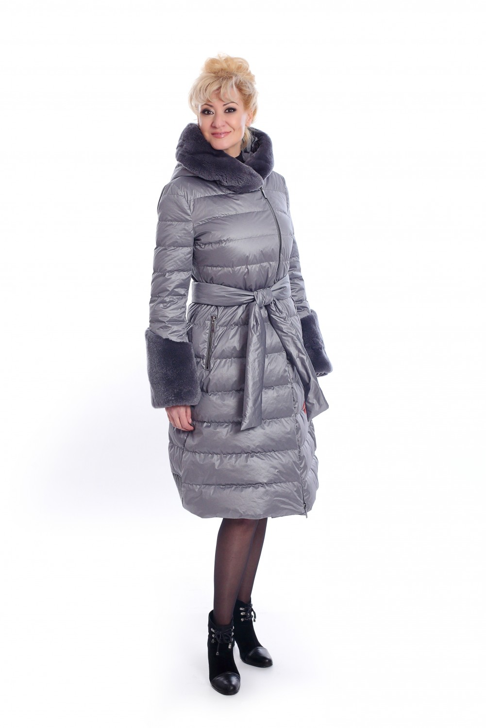Long, gray, down jacket with hood and cuffs from rabbit fur