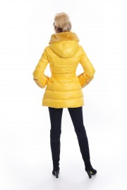 Yellow down jacket with hood and cuffs from rabbit fur