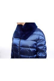 Royal blue down jacket with rabbit fur collar