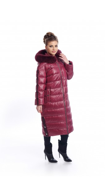 Long, red, down jacket with hood from fox fur