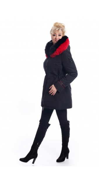 Black, down jacket with fox fur on the hood