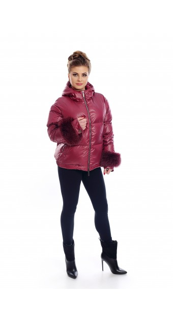 Red down jacket with hood and fox fur on the cuffs
