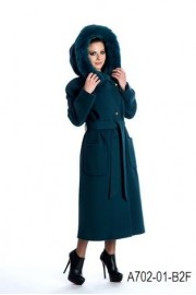 Belted wool coat with fox trimmed hood