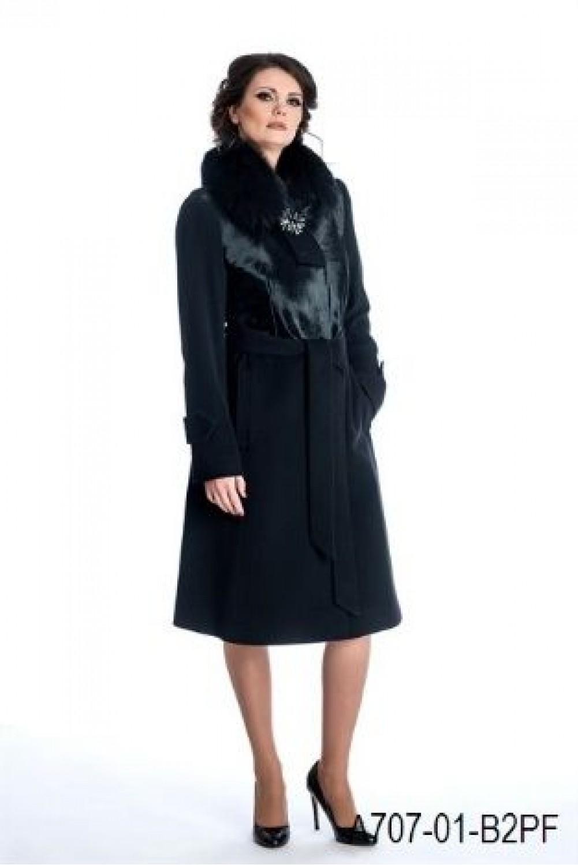 Coat with pony and fox trim