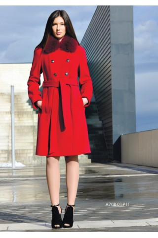 Belted wool  coat with removable fox collar