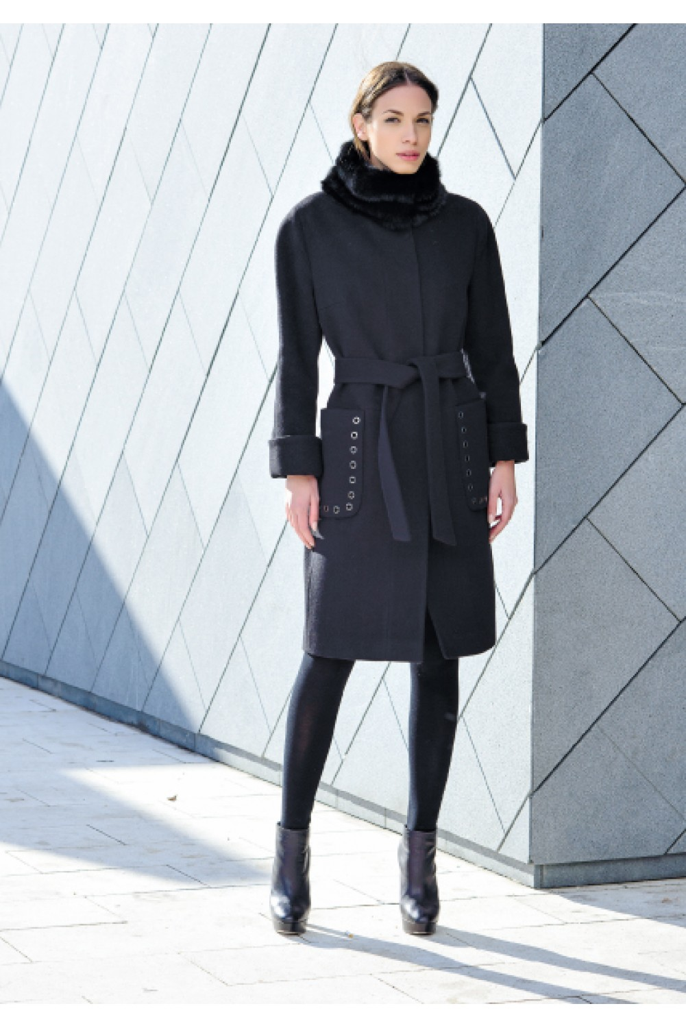 Belted wool coat with rabbit collar