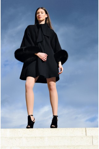 Wool coat with leather fox cuffs