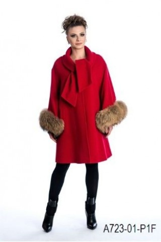 Coat with leather fox cuffs