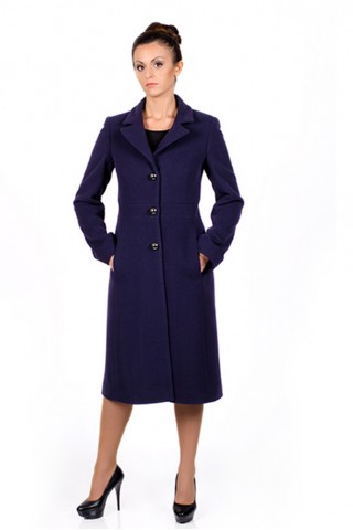 Wool coat with built-in belt and rever