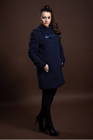 Wool coat with removable hood