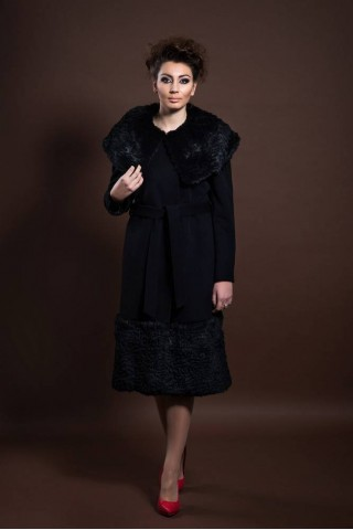 Belted wool coat with big rabbit fur collar