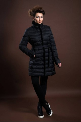 Down filled jacket with mink trim