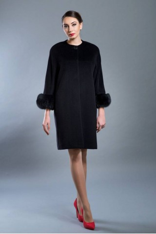 Wool coat without collar and fox trim sleeves