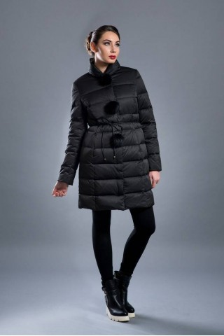 Long down filled jacket with pompons